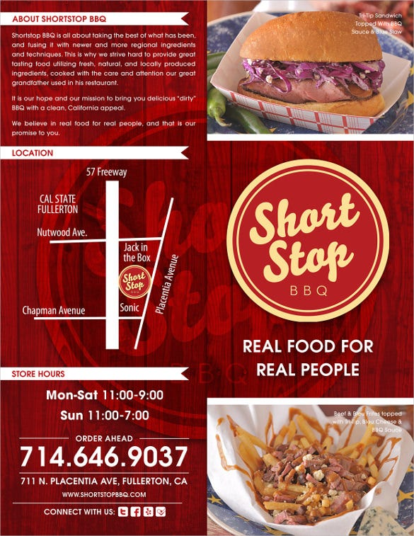 shortstop bbq menu template download