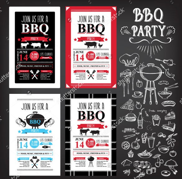 bbq menu party invitation template