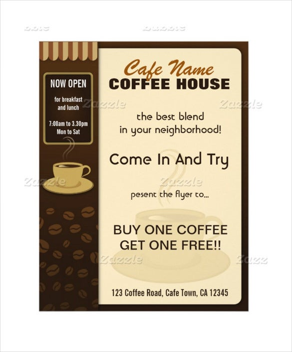 cafe coffee cup flyers and coffee menu template