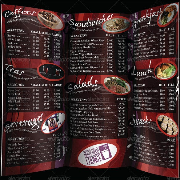 Coffee Music Cafe Tri Fold Menu Template Download  Free Cafe Menu Templates For Word