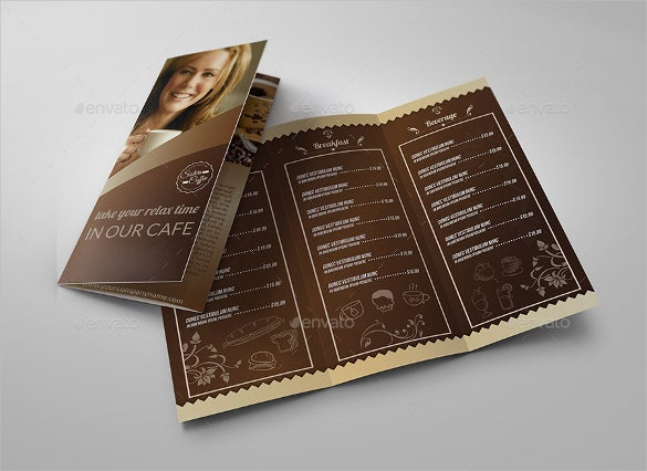 Example Coffee Shop Menu Tri Fold Brochure Template Download