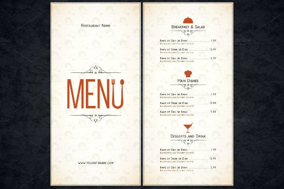 Restaurant menu template free psd ai vector eps