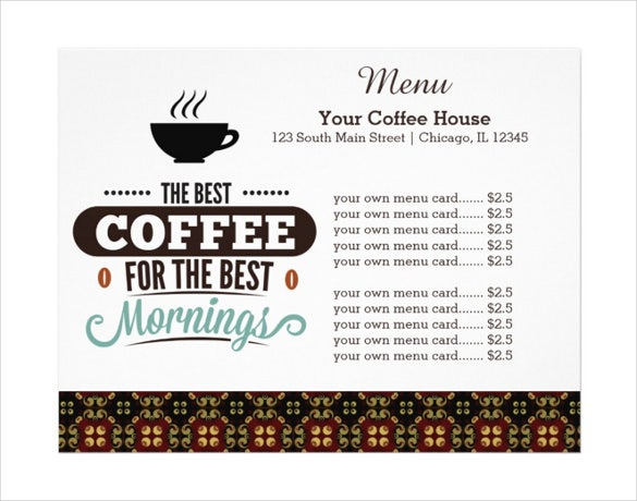 coffee house menu template download