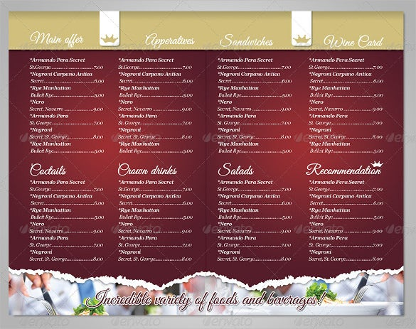 Restaurant Menu Format Free  Free Downloadable Restaurant Menu Templates