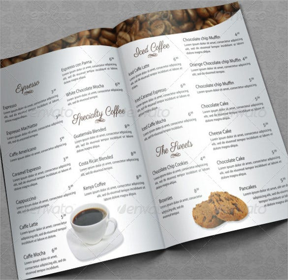 elegant coffee house menu template download
