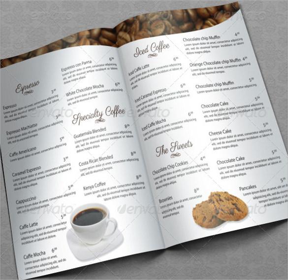 elegant coffee house menu template download
