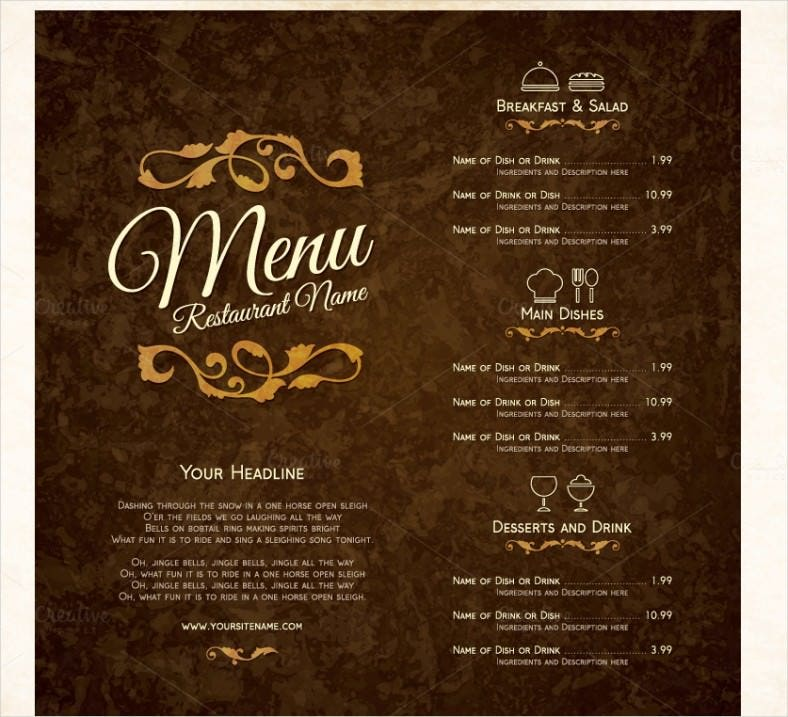 attractive restaurant menu template