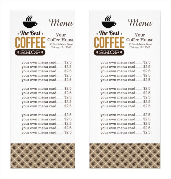 customized coffee menu card template