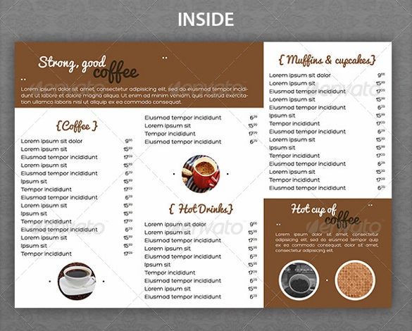vintage coffee house menu template download