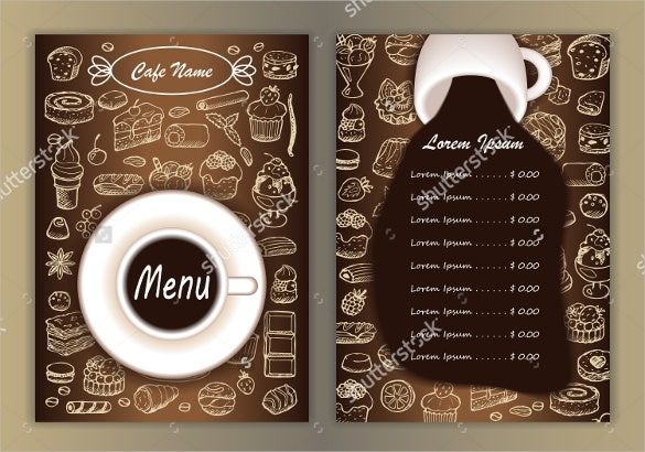 cafe menu with hand drawn template