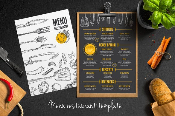 Restaurant menu template 53 free psd ai vector eps for Menu brochure template word
