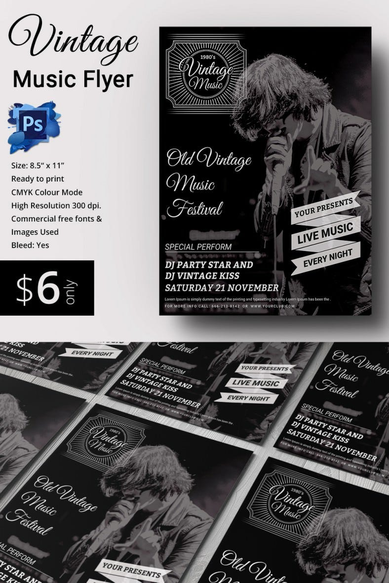 music flyer templates psd eps ai indesign word pdf vintage music flyer template