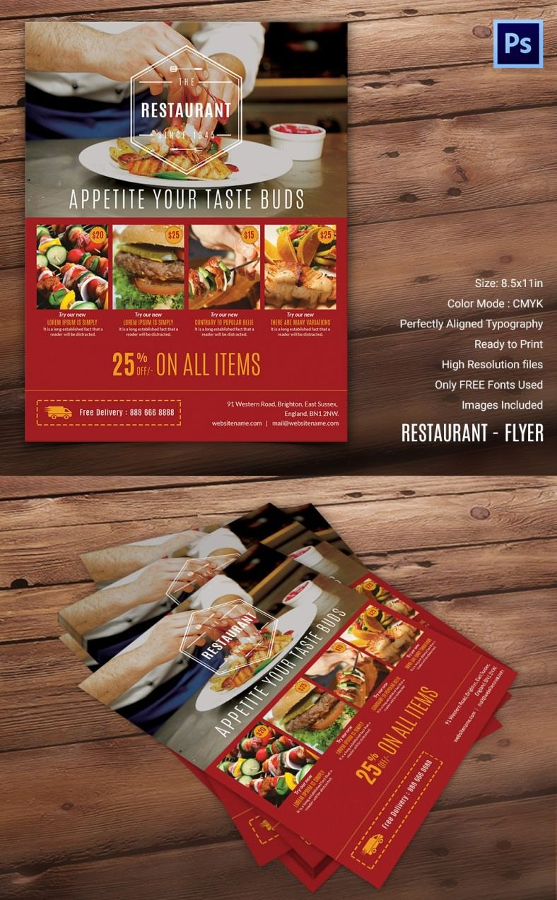 restaurant flyer word pdf psd eps indesign simple restaurant flyer template