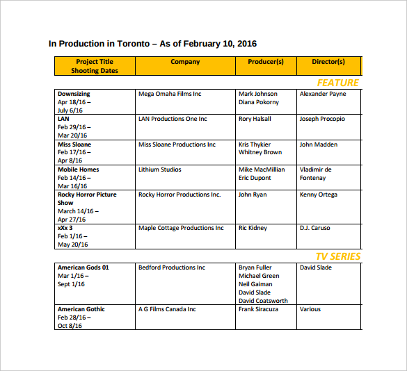 Toronto Film Shooting Schedule PDF Template