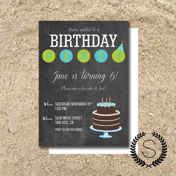 birthday party chalkboard invitation template