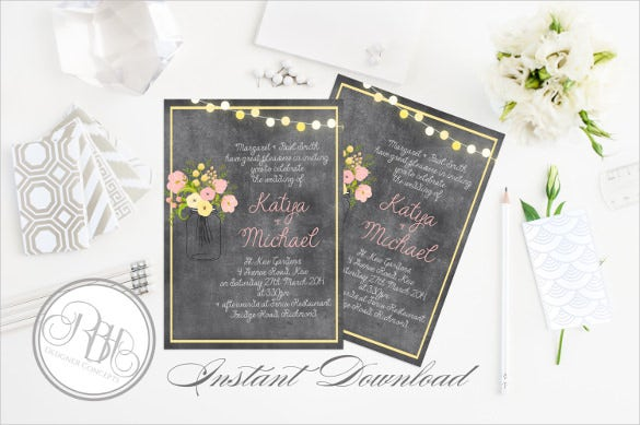 beautiful rustic chalkboard invitation template