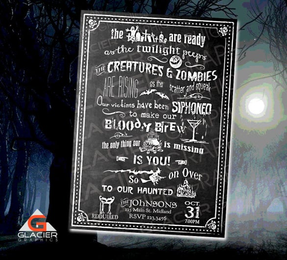 halloween chalkboard invitation template