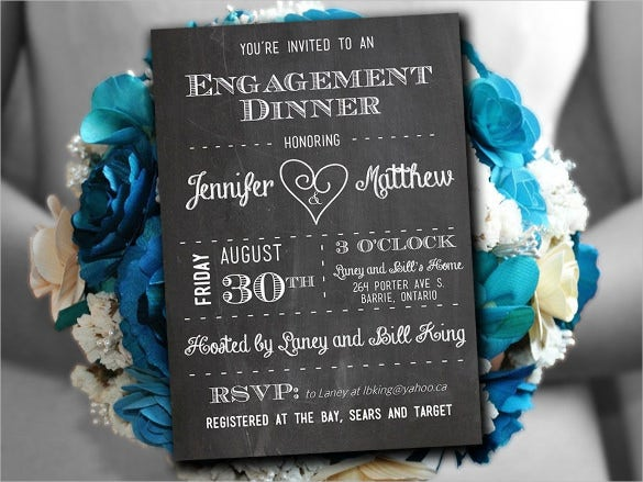 engagement chalkboard invitation template