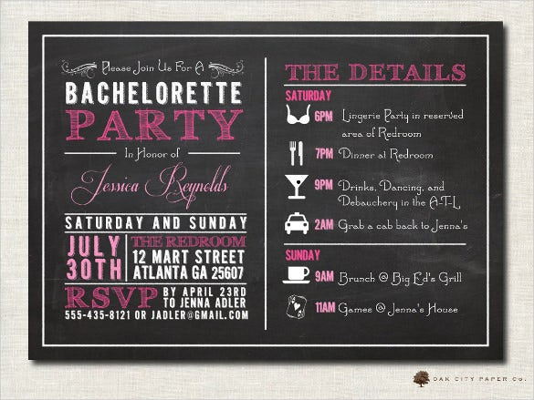 bachelorette party chalkboard invitation template