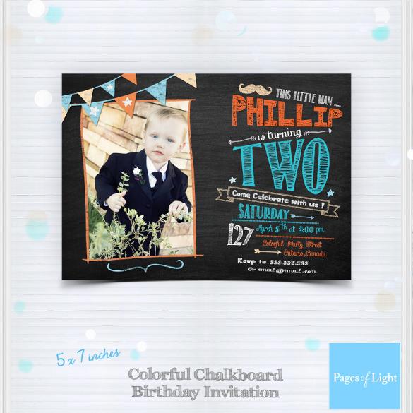 boy birthday chalkboard invitatio template