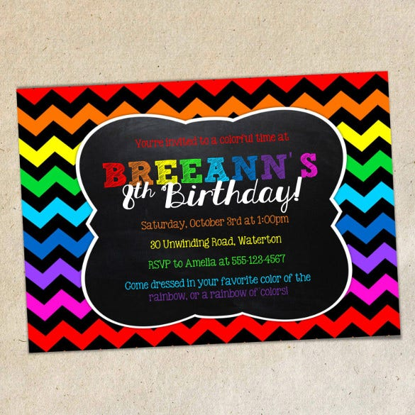 rainbow chalkboard invitation template