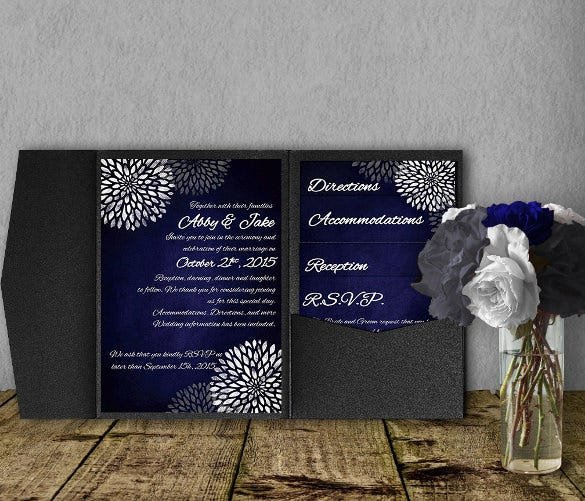 blue chalkboard wedding invitation template