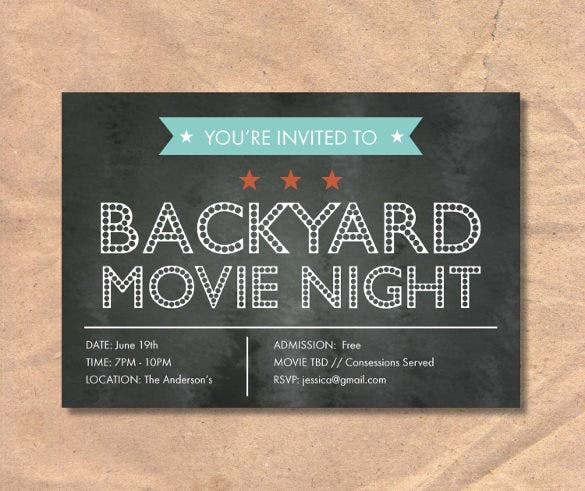 movie night chalkboard invitation template