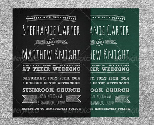 editable chalkboard wedding invitation set