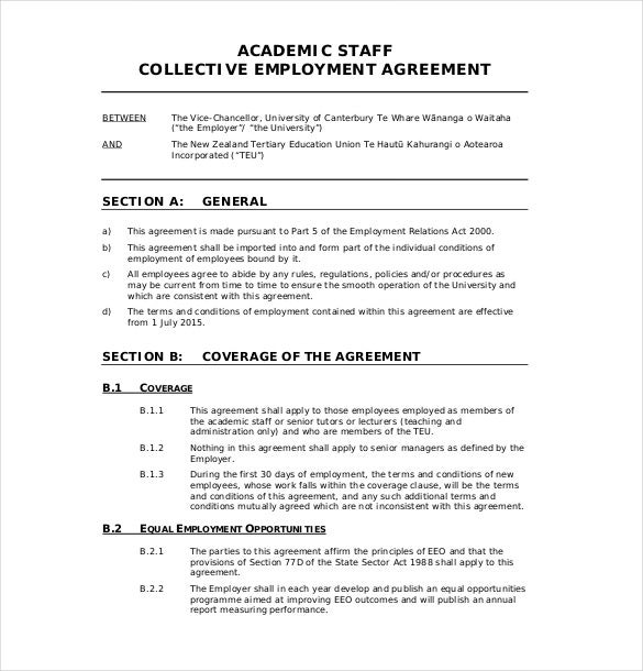 Employment Agreements Free Printable Employment Contract Sample