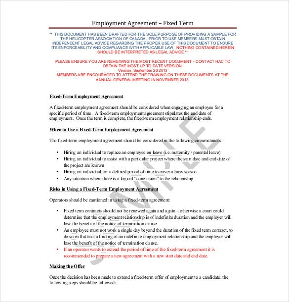 Employment Agreement Templates  Free Sample Example Format
