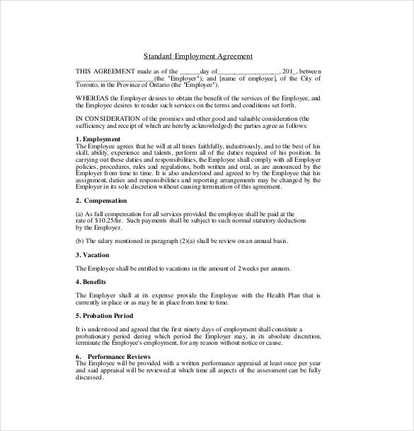 19 Employment Agreement Templates Free Sample Example Format