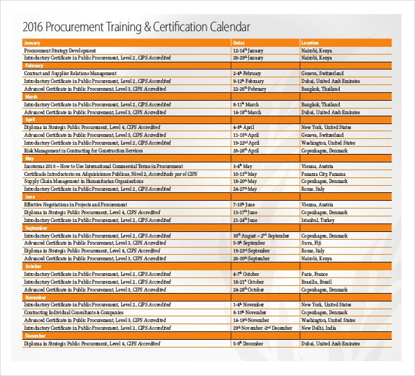 procurement training certification calendar