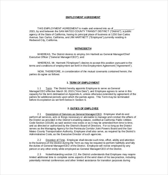 Delightful Employment Agreement Templates Free Sample Example Format