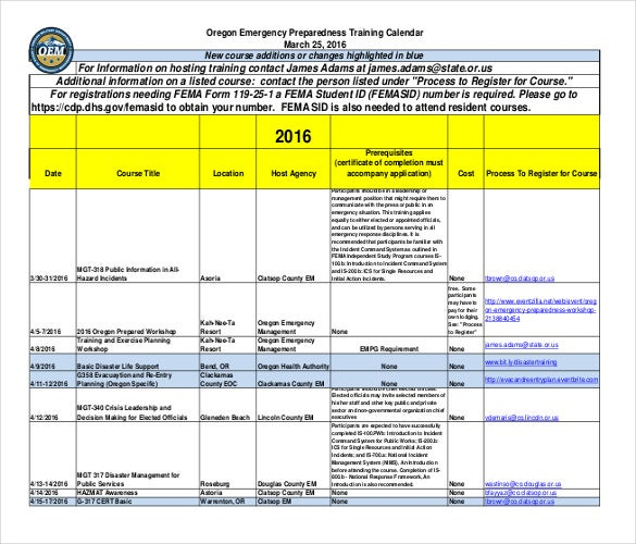 oregon emergency preparedness training calendar