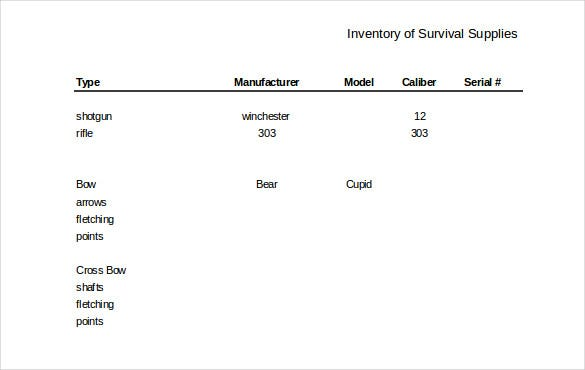 warehouse inventory template in survival supplies