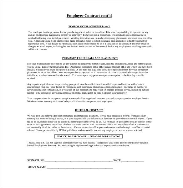 Example Dental Employee Contract Agreement Free Download  Employment Contract Free Template
