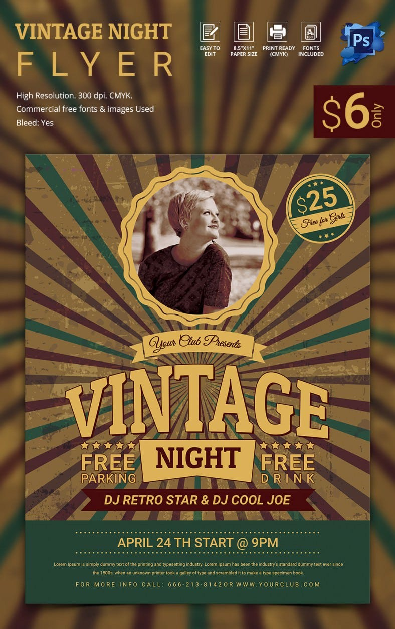 15  stylish vintage flyer templates psd
