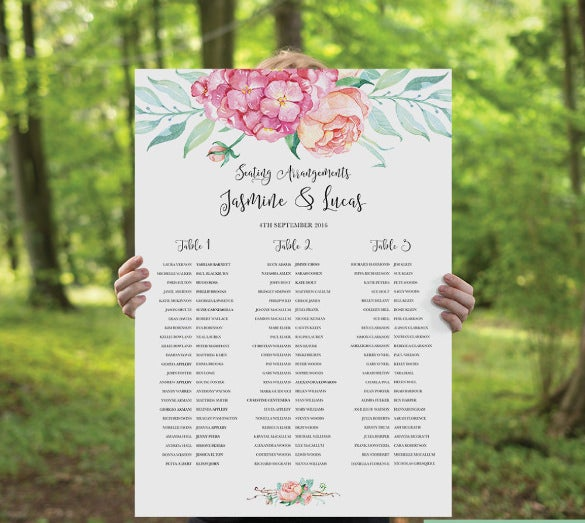 printable wedding seating chart example template download
