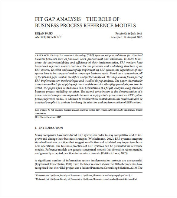 fit gap analysis pdf template free download