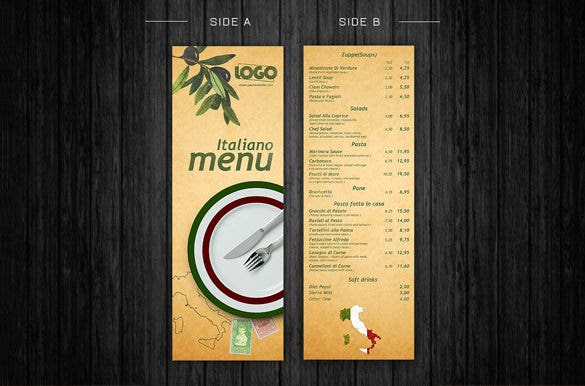 italiano menu template