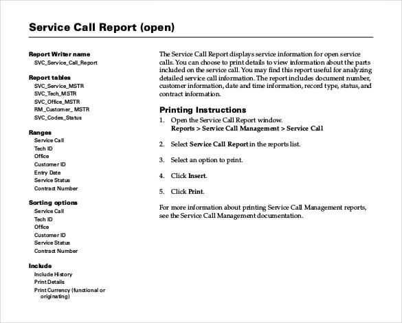 Customer Service Report Template. sample service report template 6 ...
