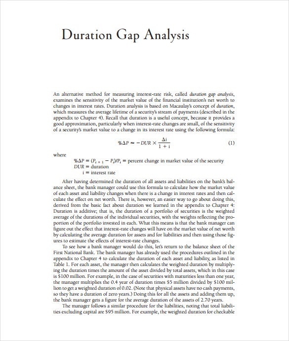 duration gap analysis pdf template free download