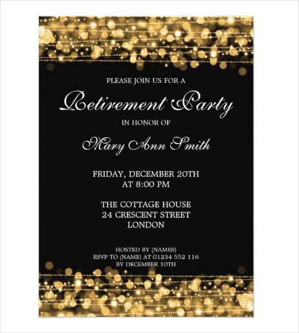 30 retirement party invitation design templates psd ai vector elegant retirement party gold sparkles card stopboris Image collections