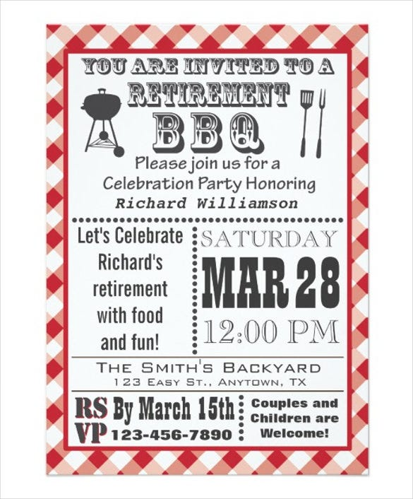 traditional retirement party bbq invitation