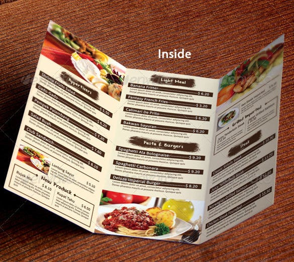 tri fold restaurant template