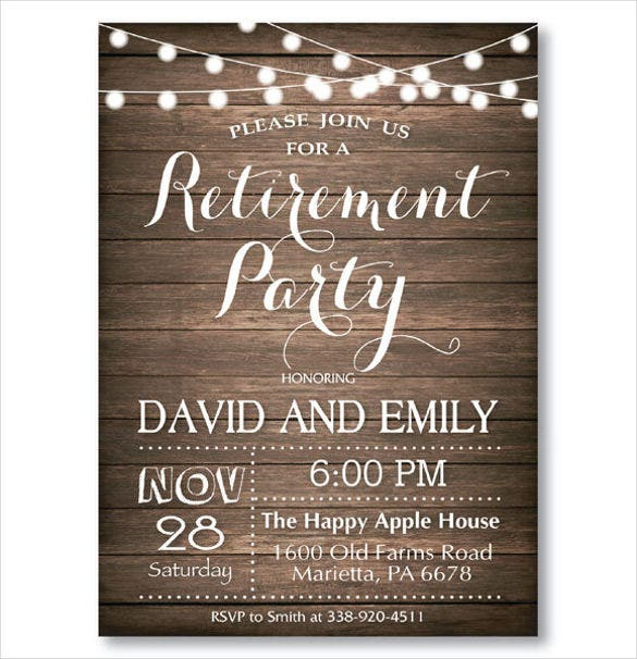 30 retirement party invitation design templates psd ai vector rustic retirement party invitation stopboris Image collections