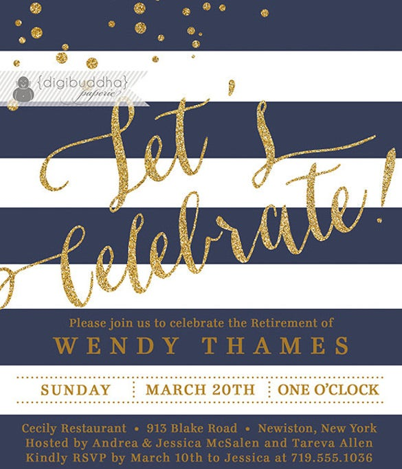 navy blue gold retirement party invitation