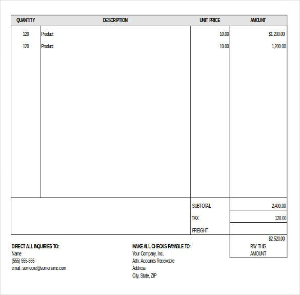 basic retail invoice inventory template