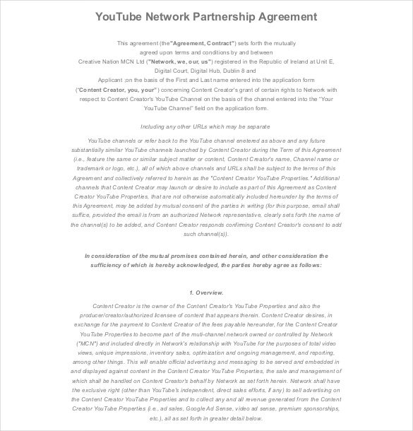 Partnership Agreement Templates  Free Sample Example Format