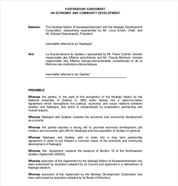 sample economic partnership agreement template download